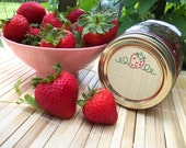 Embroidery Strawberry Canning Jar labels, 2 inch round stickers for mason jars, fruit preservation