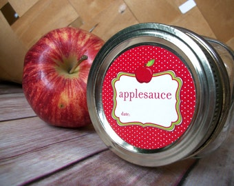 Applesauce canning jar labels, 2 inch round mason jar labels, fruit preservation stickers, regular or wide mouth available