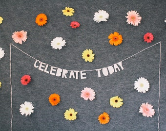 paper party banner, CELEBRATE TODAY - handmade, wall hanging, bedroom decor, house decor, interior decor, home decor, word banner, bunting
