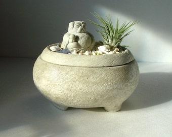 Pug Buddha Sculpture Stone Zen Garden Air Plant Keepsake Bowl