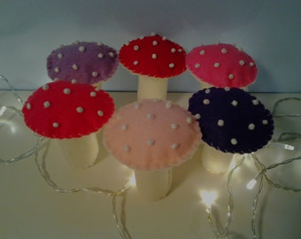 Valentine Felt Mushrooms Fairy Furniture Holiday Decor