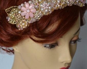 AUGUST SALE Bridal Blush and Gold headband,Heirloom Brooch Cluster headband,Bridal Blush and Gold headpiece,Couture Bridal headband Pearls
