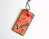 Decoupaged Keychain Rectangle Wood Love Key Chain Swarovski Crystal Embellished Gift for Her Under 10