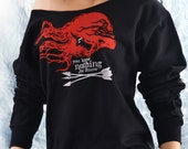 Ygritte--YOU KNOW NOTHING Jon Snow Slouchy Off The Shoulder Sweatshirt. Hair Kissed By Fire in Game of Thrones. Sexy Women's Sweatshirt.