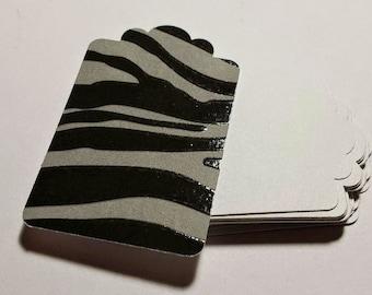 25 Tags - Zebra Print - Gray - Acid Free - Premium Quality - Paper Card Stock