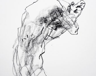 """Minimal Abstract Charcoal Figure Drawing  - 11 x 14"""",  fine art - Drawing 320 - charcoal on paper - original drawing"""