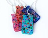 Jar of Hearts Mini Mason Jar Necklace, tiny art, handcrafted jewelry, hearts