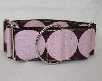 SALE Big Dot Martingale Dog Collar - 2 Inch - pink brown big polka dot fun