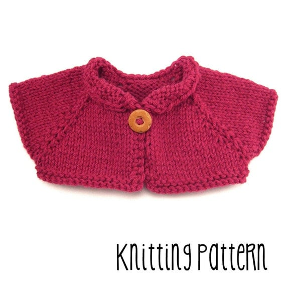 Simple Bolero Knitting Pattern : PATTERN Knitting Simple Shrug Waldorf Doll Pattern