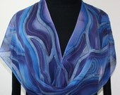 Silk Scarf Hand Painted Blue Purple Chiffon Silk Shawl STORMY PASSION, in 2 SIZES, Anniversary Gift Birthday Gift Free Gift-Wrap