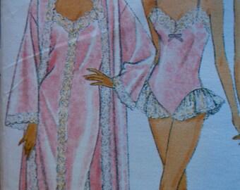 Peignoir Set Pattern Butterick 6985 Bias Cut Teddy Camisole Panties Pattern Size L XL UNCUT