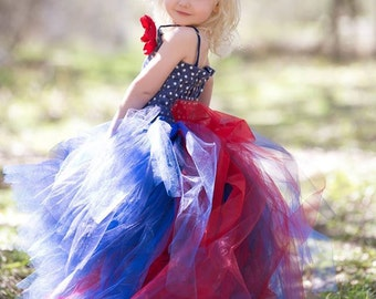 Flower Girl Dress--Royal Blue, Navy and Red--Tulle Skirt and Detachable Train--Many Color Options--Perfect for 4th of July Weddings