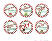 Ugly Christmas Sweater Award Sticker Circles | Ugly Christmas Sweater Award Stickers | PRINTABLE Ugly Holiday Sweater Award Stickers #410