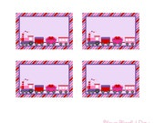 PRINTABLE Valentine's Train Party (Girl) Label Tents