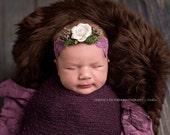 white flower headband,lavender headband-moss headband ready to ship,newborn headband,flower girl,photo prop, any size,purple flower headband