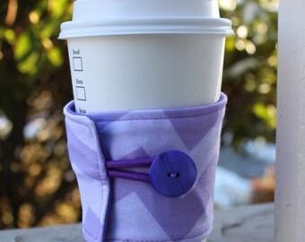 Purple Chevron Coffee Cozy - Reusable Coffee Cup Sleeve - Lavender Chevron Java Jacket - Handmade Gift - Made In Seattle - Chevron Mug Wrap