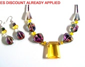 Rainbow Rose & Yellow Gold Celestial Faceted Crystal Necklace Set, Delicate Crystal Necklace, 2 Piece Set, Statement Necklace