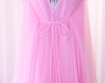 Claire Sandra for Lucie Ann Beverley Hills Chiffon Grecian Chiffon Peignoir Set Pink Pom Pom 623 Inch Grand Sweep!