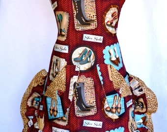 Women's Apron, Leopard, High Heel Shoe Print, Double Ruffled, Rhinestones