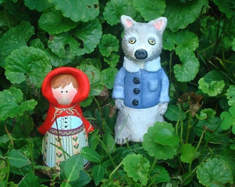 Clay Art Doll Set, Red Riding Hood and Big Bad Wolf Peg Doll