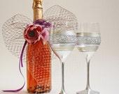 Wine Glasses, Wedding Glasses, Toasting Glasses, Hand Painted, Set of 2