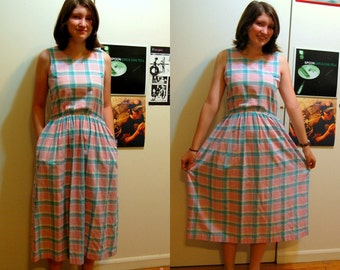 S Vintage 80s Sleeveless Plaid Maxi Dress
