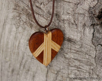 Winged Heart 3 with Beveled Edges - Wooden Pendant Necklace in Reclaimed Ash and Mahogany