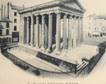 Unused Antique French Postcard - The Temple of Auguste & Livie, Vienne, France