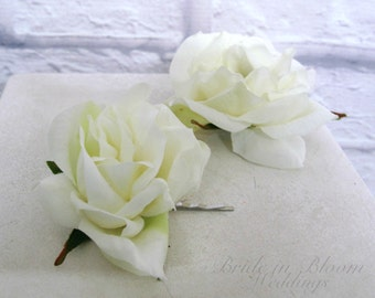 Wedding hair accessories Ivory rose hair pins - Cream rose bobby pin set of 2 Bridal hair accessory