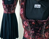 Garnet Red and Black Silk and Linen Embroidered German Dirndl Dress  size 34 EU Small 1970's