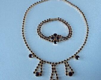 Czech Set Garnet Red Rhinestone Necklace and Bracelet Set Demi Parure 1970's
