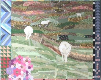 "Art quilt Curious Nature - Quilt - Wall hanging - 54"" x 54"" -  textile art - unique - art - piece of art - sheep - meadow - field - green"
