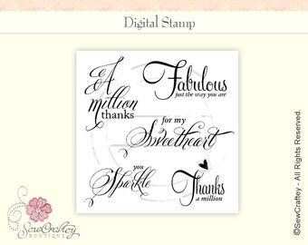 Digital Stamps - You Sparkle - Instant Download - Sentiments - Sayings - Quotes - Words