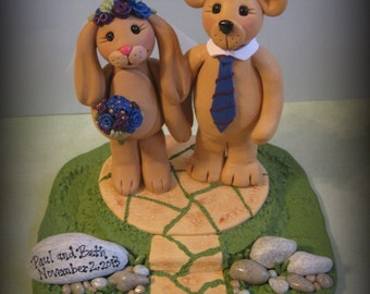 Wedding Cake Topper, Bunny, Bear, Polymer Clay, Custom Wedding or Anniversary Keepsake, Animal