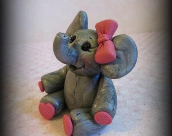 Elephant, Polymer Clay, Baby Elephant, Cake Topper, Birthday, Baby Shower