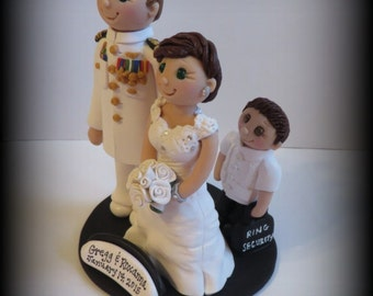 Wedding Cake Topper, Custom Cake Topper, Bride and Groom with Child, Personalized, Polymer Clay Keepsake