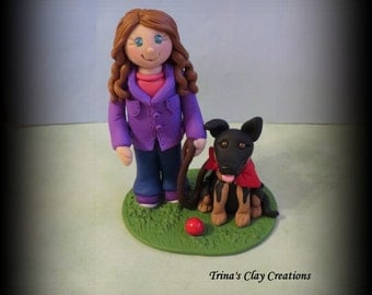 Girl and Dog, Polymer Clay, Service Dog, Cake Topper, Sculpture