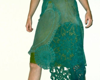UpCycLED S crochet lace doilies dress small