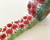 Big Washi Masking Tape Roll - Red Poppy field 30mm WT622