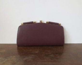 "Awesome 70s Textured Burgundy Wine ""Good Luck"" Clutch"