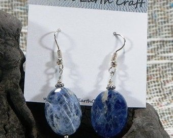 Blue and white sodalite earrings ovals semiprecious stone jewelry packaged in a colorful gift bag 2441