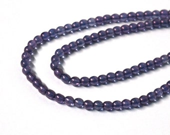 Czech Glass Beads / 4mm round purple transcluscent luster / full bead strand / 1039G