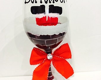 Santa Claus Christmas Wine Glass, Bottom's Up Chimney Holiday Glass
