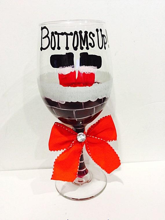 Santa Claus Christmas Wine Glass Bottom S Up Chimney