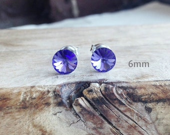 Get 15% OFF - 6mm Swarovski Crystal, Tanzanite Blue Purple Crystal Silver Surgical Steel Post Earrings - Labor Day SALE 2016