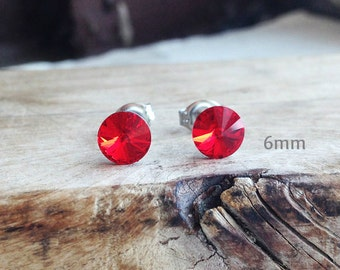 Get 15% OFF - 6mm Swarovski Crystal Surgical Steel Post Stud Earrings - Labor Day SALE 2016