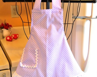 Vintage Retro Style Toddler Apron with  Lavender Lilac Polka Dots