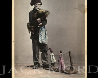 Rare Occupational Photo ~ Italian Musician Street Puppeteer & Toy Dancing Dolls by Sommer