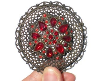 Little Nemo Brooch with Bright Red Rhinestone on Pot Metal Filigree Signed L/N - Little Nemo Vintage