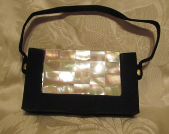Mother Of Pearl Compact Purse Vintage Carryall 1950s Purse Mad Men Cigarette Case Formal Purse Moire EXCELLENT CONDITION